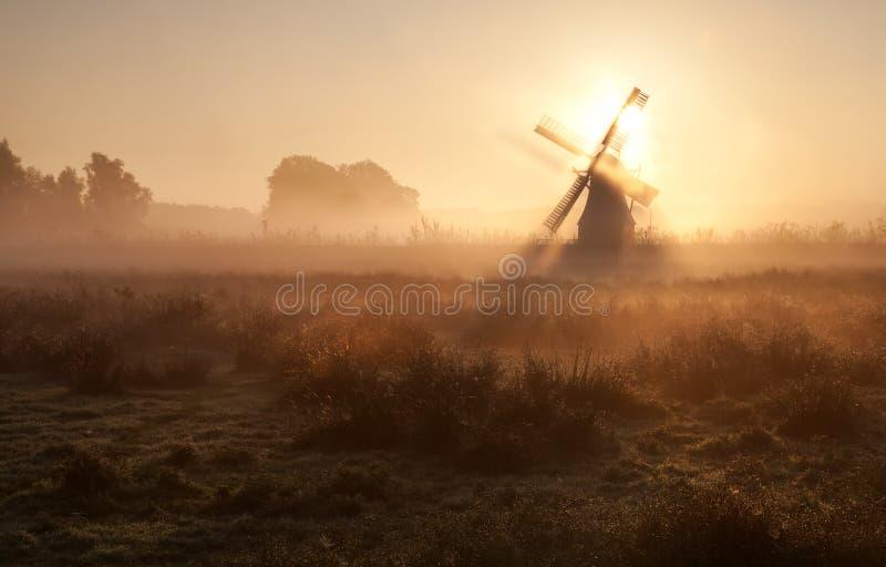 Światło słoneczne za wiatraczkiem w ranek mgle zdjęcia stock