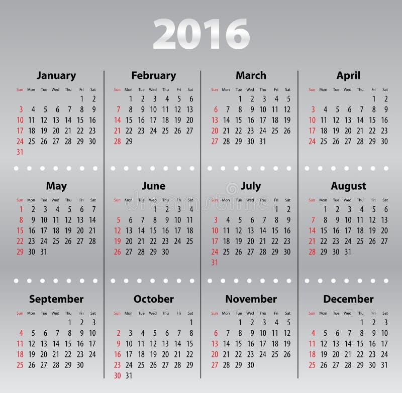 Download Światło - Szarości Kalendarzowa Siatka Dla 2016 Ilustracja Wektor - Ilustracja złożonej z ośmiornica, data: 57660242