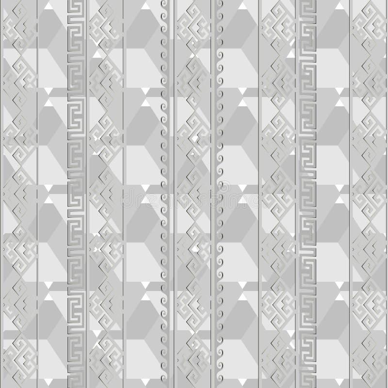 Światło - szary geometryczny grecki wektorowy bezszwowy wzór Monochrom a royalty ilustracja