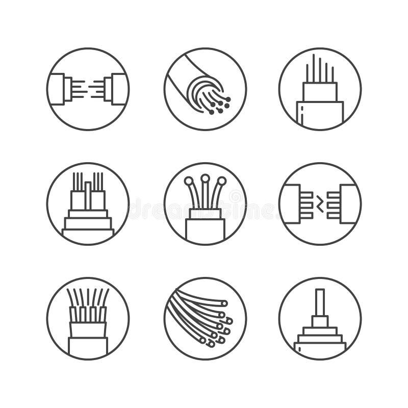 Światłowodu mieszkania linii wektoru ikony Sieć związek, komputeru drut, kablowa bobina, transfer danych Cienieje podpisuje wewną ilustracja wektor