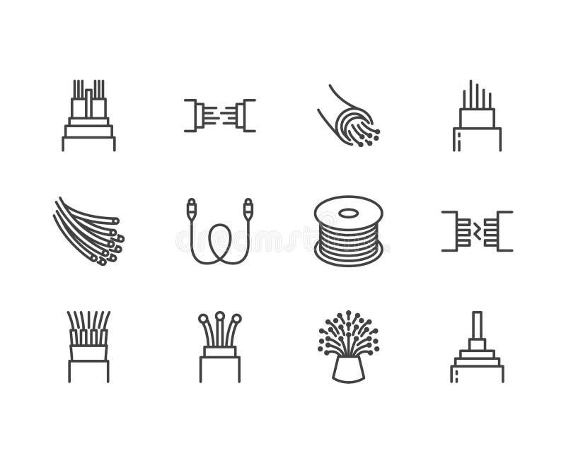 Światłowodu mieszkania linii wektoru ikony Sieć związek, komputeru drut, kablowa bobina, transfer danych Cienieje znaki dla ilustracji