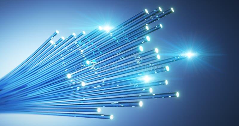 Światłowody wiążący kabel - 3D ilustracja ilustracja wektor