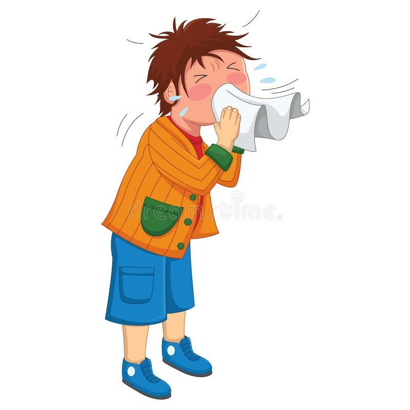 Dzieciaka kichnięcia wektoru ilustracja ilustracji