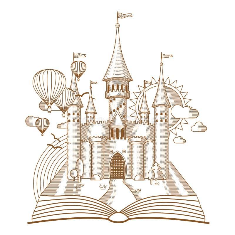 Świat bajki, czarodziejka kasztel pojawiać się od starej książki, kreskówka wektoru ilustracja Mono kreskowa sztuka ilustracja wektor