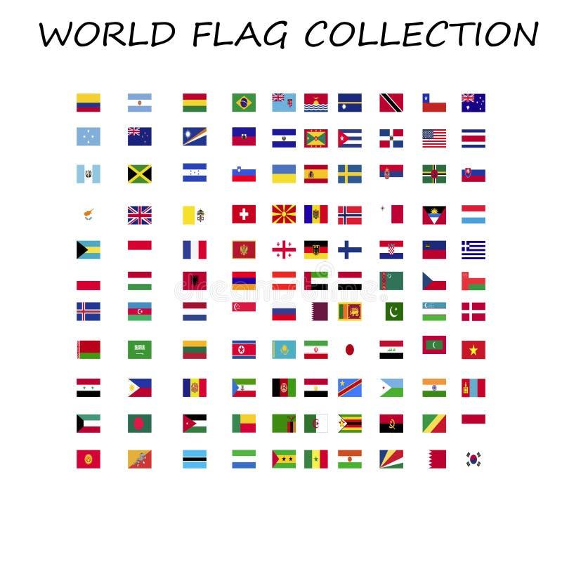 Świat chorągwiana kolekcja w jeden miejscu royalty ilustracja