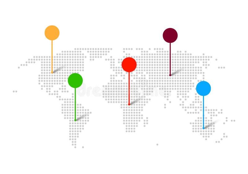 Świat kropkował mapę z kolorów pointerami - wektor ilustracja wektor