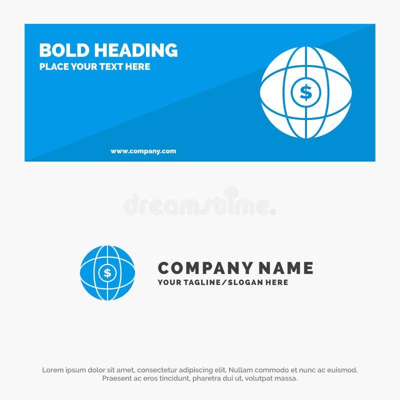 Świat, kula ziemska, internet, Dolarowy stały ikony strony internetowej sztandar i biznesu logo szablon, ilustracji