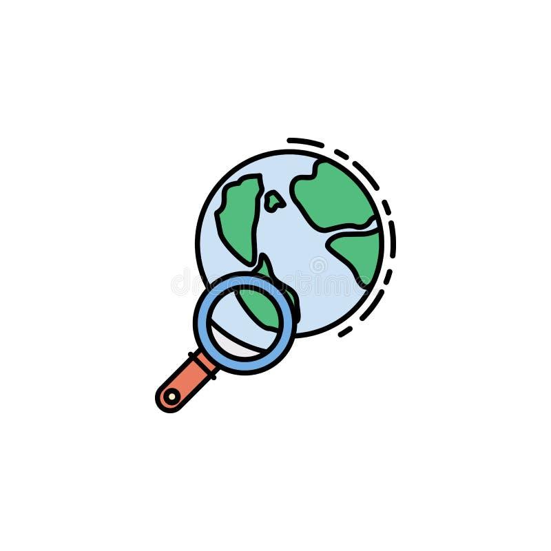 świat, loupe, zoom, rewizji ikona Element historia koloru ikona dla mobilnych pojęcia i sieci apps Barwi świat, loupe, zoom, rewi ilustracji