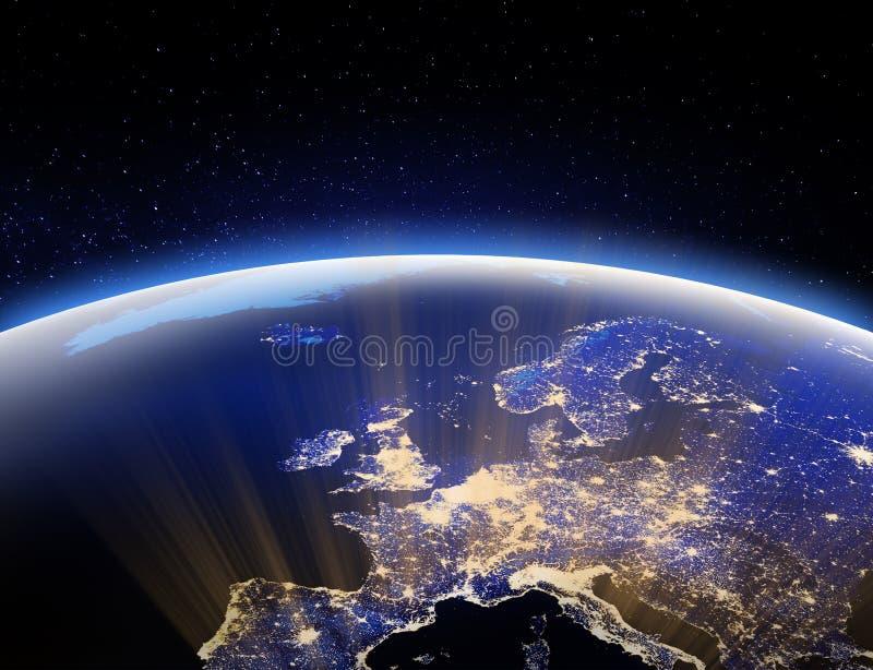 Świat od przestrzeni - Europa Elementy ten wizerunek meblujący NASA 3d renderingiem royalty ilustracja