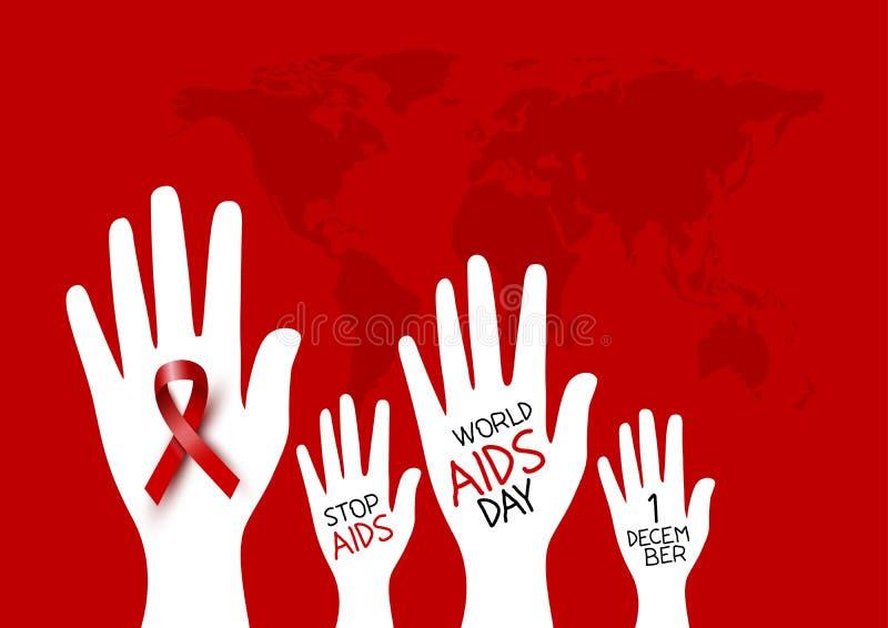 Świat pomaga dnia projekt czerwony faborek na ręce ilustracja wektor