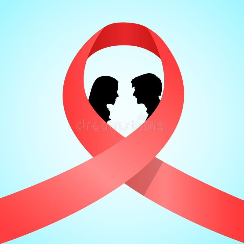 Świat POMAGA dzień świadomości pojęcia Czerwonej Tasiemkowej miłości ilustracji