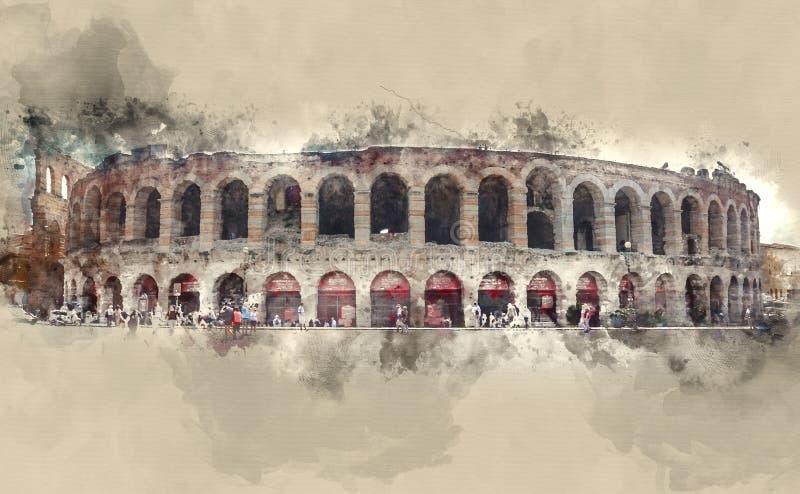 Świat sławna arena Verona ilustracji
