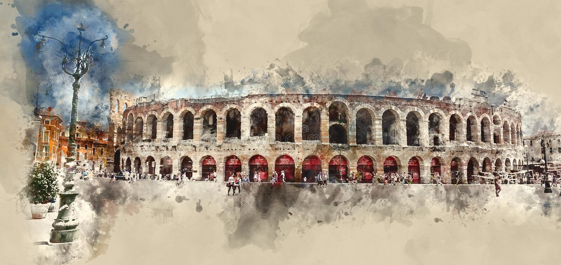 Świat sławna arena Verona royalty ilustracja