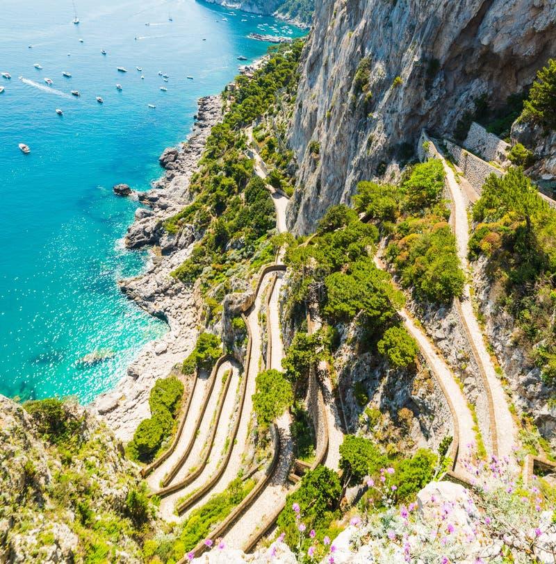 Świat sławny przez Krupp widzieć od above w Capri wyspie zdjęcia royalty free