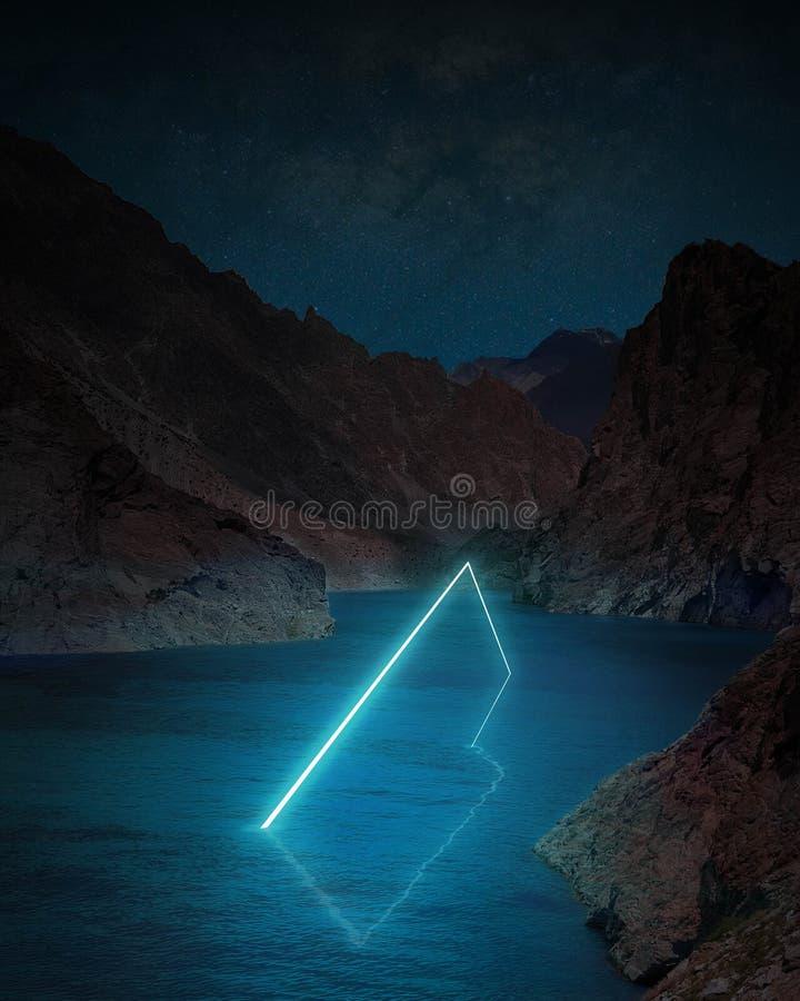 Świat wyobraźni - Prostokąt światła neonu futurystycznego zdjęcia royalty free