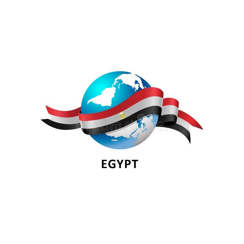 Świat z Egypt flaga ilustracja wektor