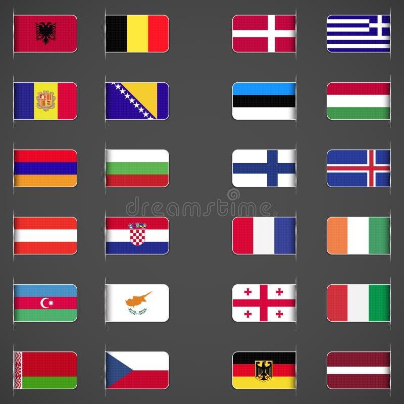 Świat zaznacza kolekcję, Europa, część 1 ilustracja wektor