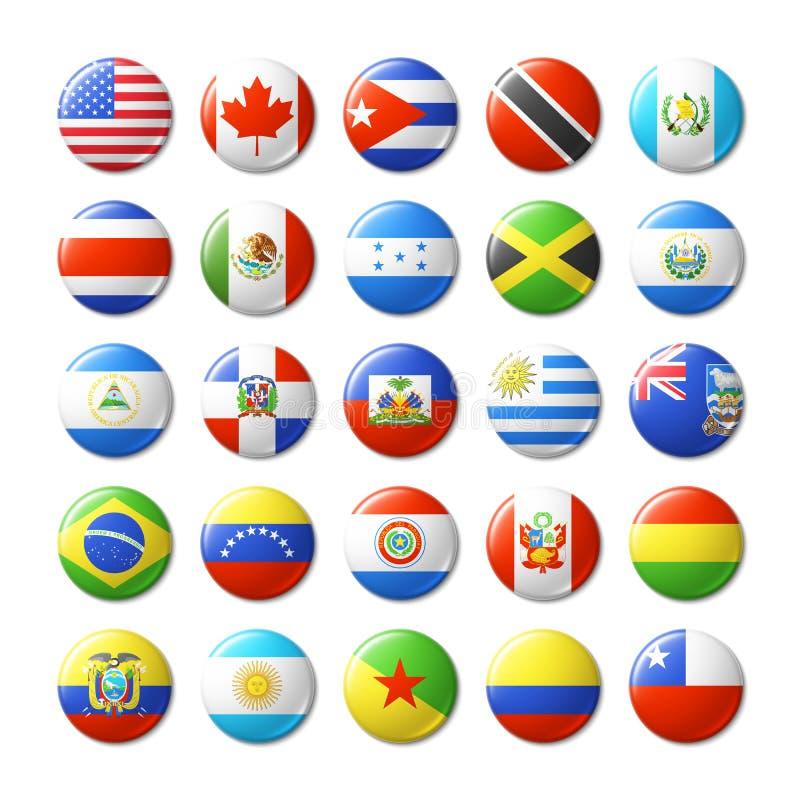 Świat zaznacza wokoło odznak, magnesy ameryka północy na południe ilustracja wektor