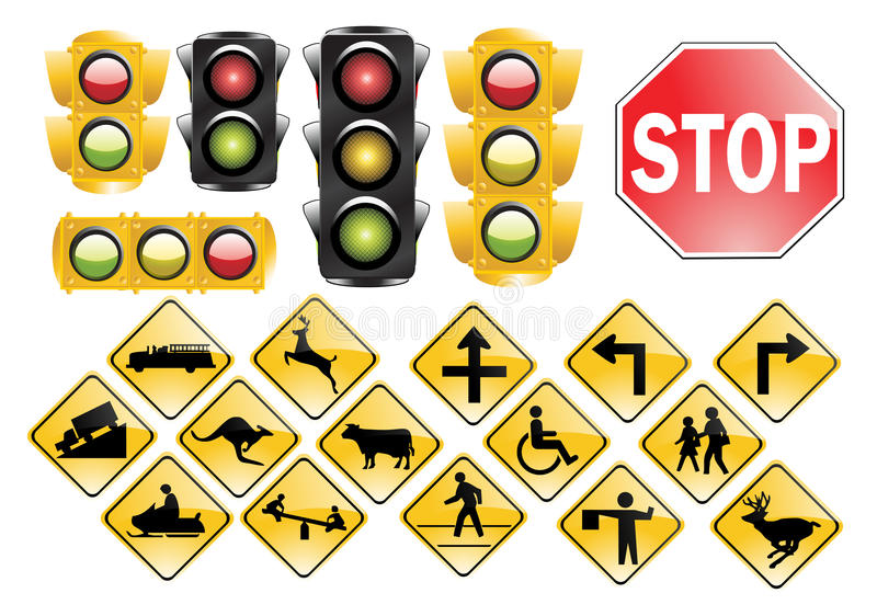 świateł znaków ruch drogowy ilustracji