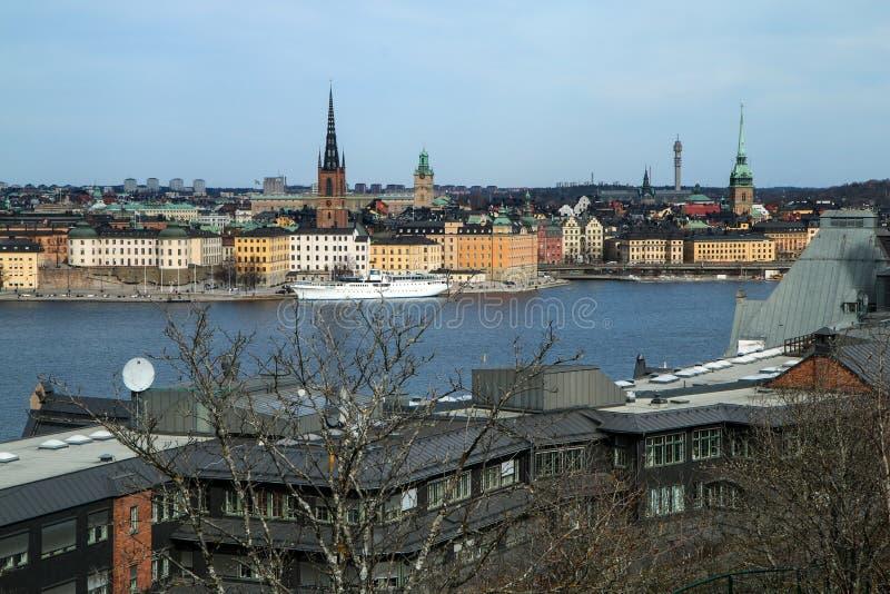 Światopogląd nad Sztokholm w Szwecja od Skinnarviksberget obrazy royalty free