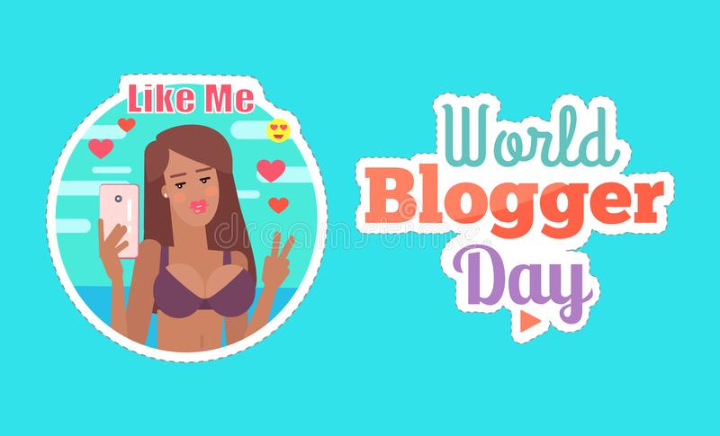 Światowa Blogger dnia kobieta z telefonu plakata wektorem ilustracja wektor