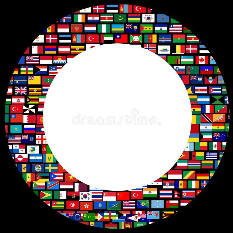 Światowa flaga okręgu rama nad czarnym tłem ilustracji