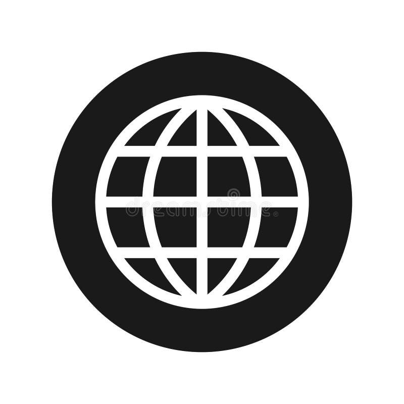 Światowa ikony płaskiego czerni round guzika wektoru ilustracja ilustracja wektor