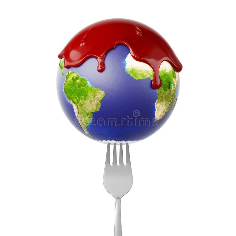 Światowa kula ziemska z Czerwonym fluidem na rozwidleniu ilustracji