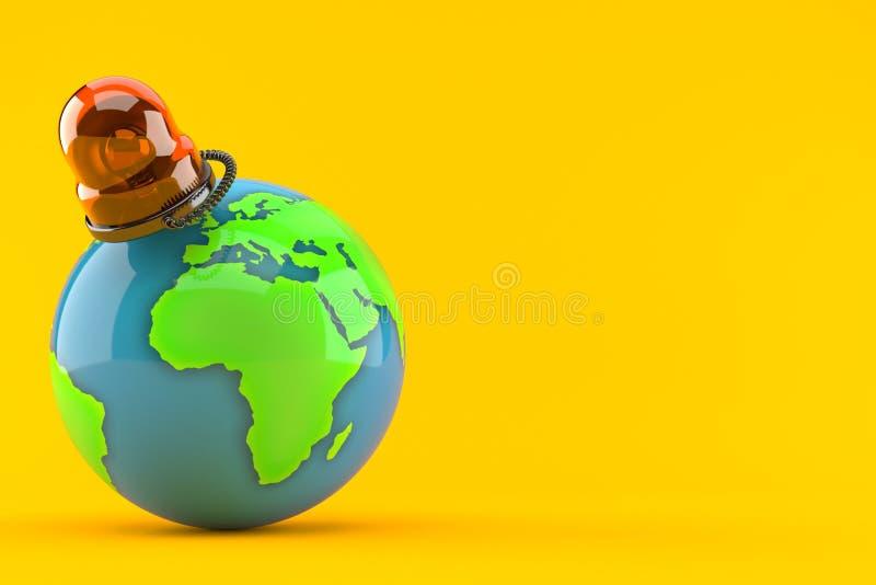 Światowa kula ziemska z przeciwawaryjną syreną ilustracji