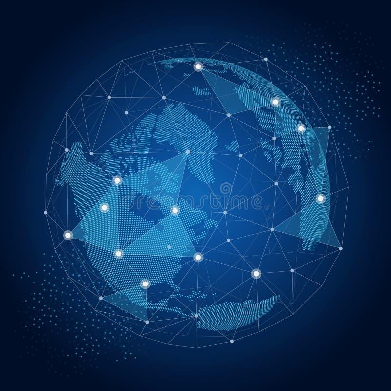 Światowa kula ziemska z sieć związków globalnym pojęciem ilustracja wektor