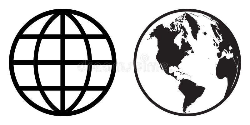 Światowa kuli ziemskiej ikony klamerki sztuka royalty ilustracja