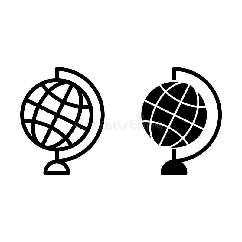 Światowa kuli ziemskiej linia i glif ikona Stołowej kuli ziemskiej wektorowa ilustracja odizolowywająca na bielu Planety mapy kon ilustracji
