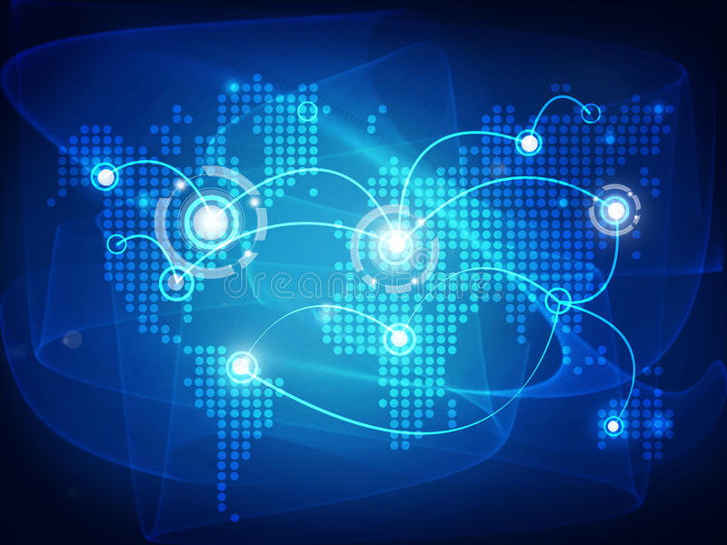 Światowa mapa łącząca z liniami ilustracji