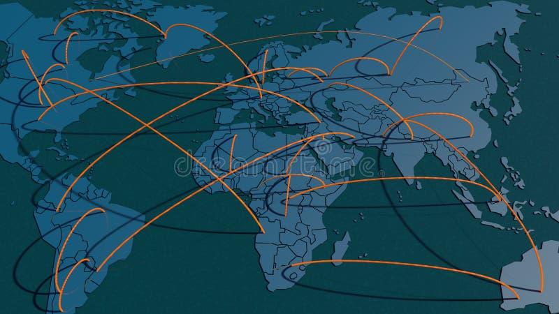 Światowa mapa łączy royalty ilustracja