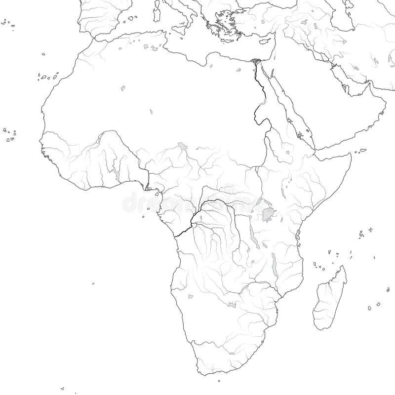 Światowa mapa AFRYKA: Egipt, Libia, Etiopia, Arabia, Mauretania, Nigeria, Somalia Geograficzna mapa royalty ilustracja