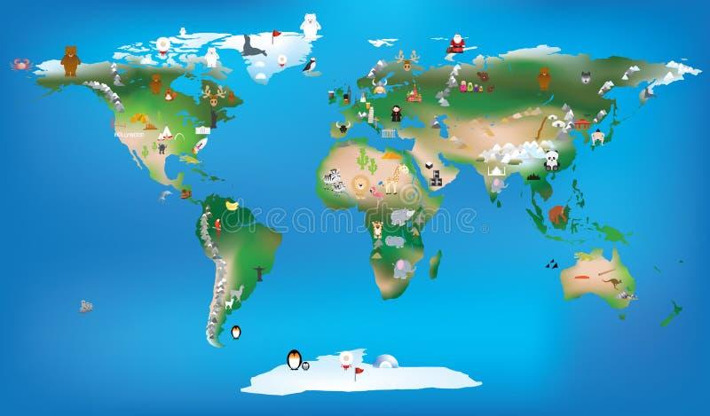 Światowa mapa dla children używa kreskówek zwierzęta i sławny lan ilustracja wektor
