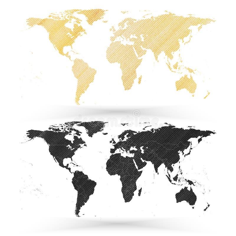 Światowa mapa, drewniana projekt tekstura, wektor royalty ilustracja