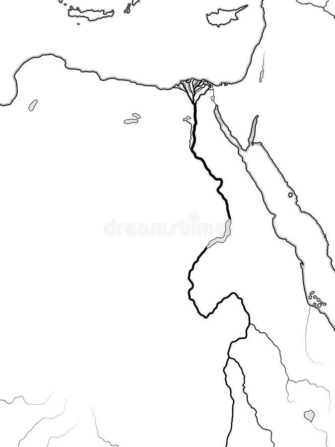 Światowa mapa EGIPT, NUBIA, LIBIA: Antyczny Egipt, Libia, Nubia, Nil rzeka & delta, Geograficzna mapa ilustracja wektor