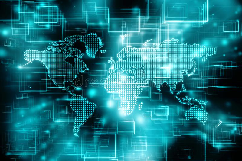 Światowa mapa i blockchain my przyglądamy się przyglądać się sieć, Globalnej sieci pojęcie royalty ilustracja