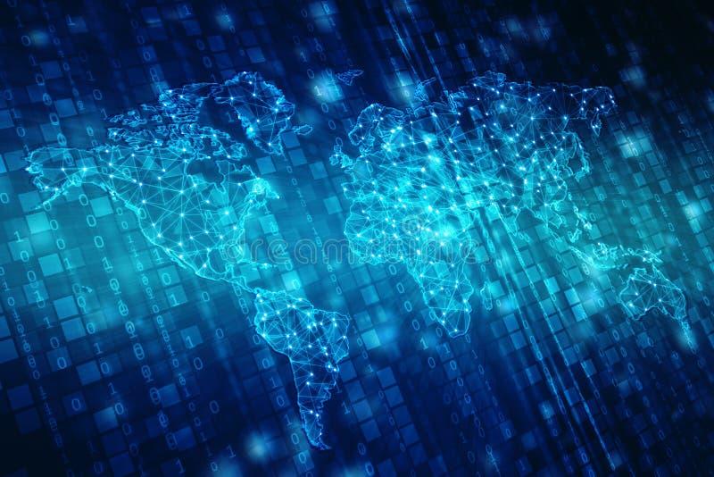 Światowa mapa i blockchain my przyglądamy się przyglądać się sieć, Globalnej sieci pojęcie ilustracja wektor