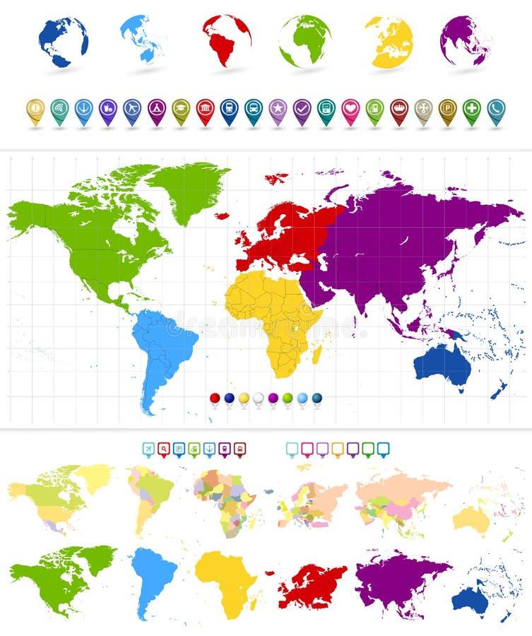 Światowa mapa i kolorowi kontynenty ilustracja wektor