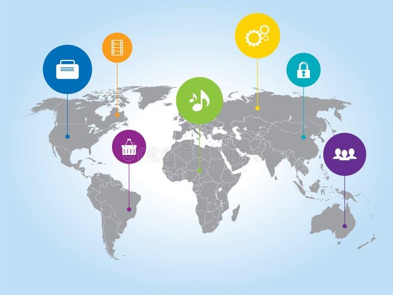 Światowa mapa i ogólnospołeczne ikony medialni ilustracji