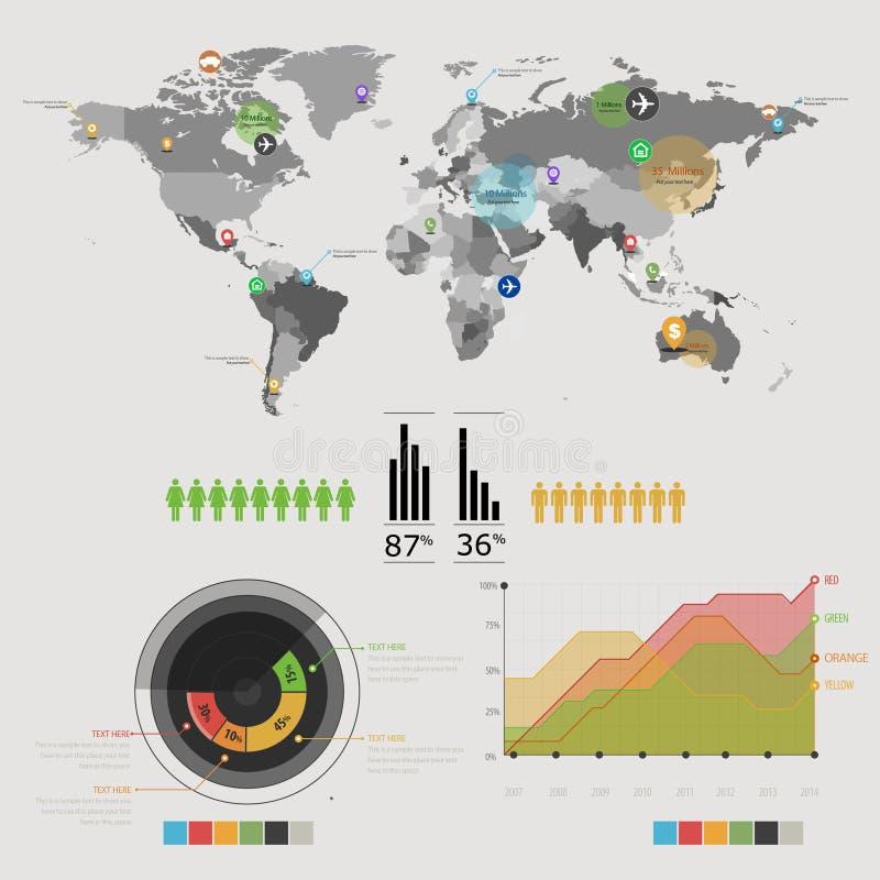 Światowa mapa infographic ilustracja wektor