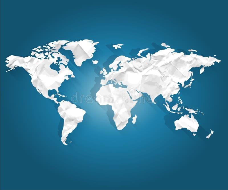 Światowa mapa jest biała na błękitnym 3d tle ilustracja wektor