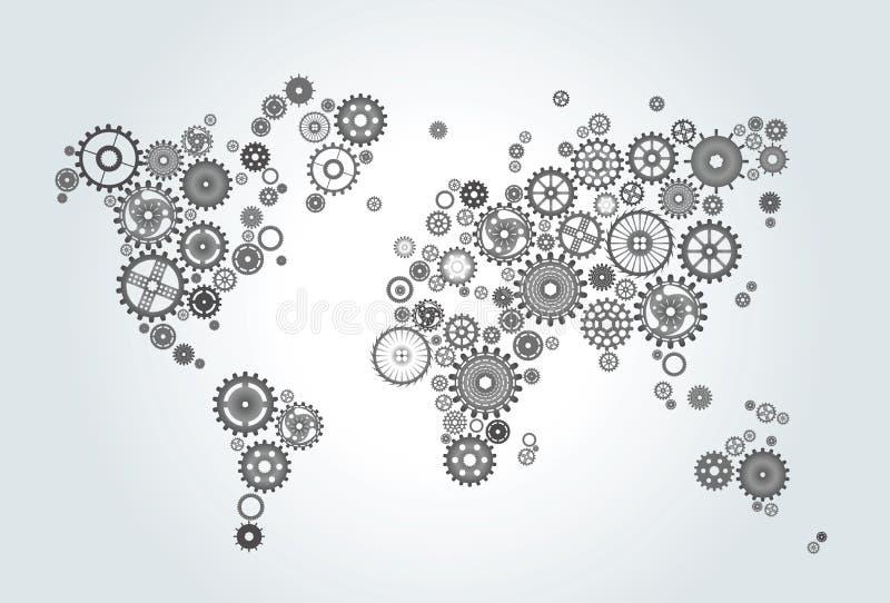 Światowa mapa komponująca przekładnie, koła na gradientowym tle ilustracji