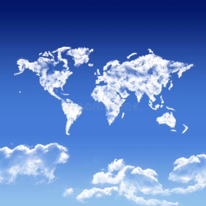 Światowa mapa kształtująca chmurnieje w niebie royalty ilustracja