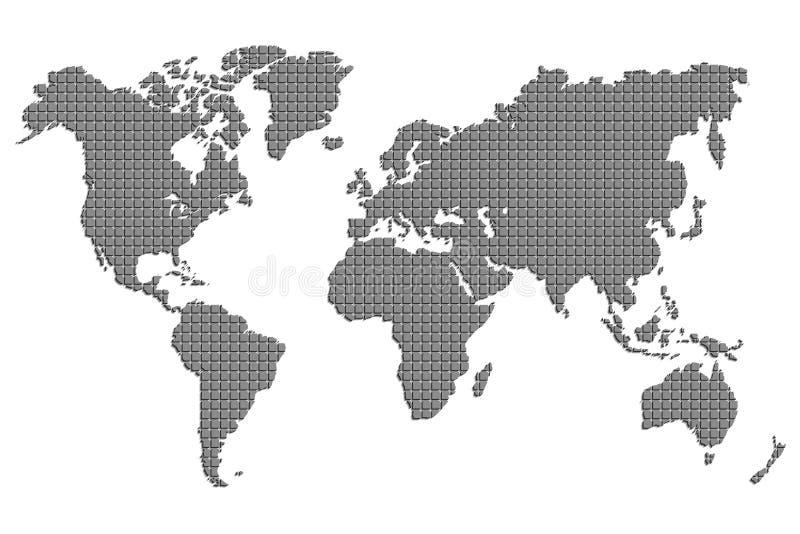Światowa mapa kwadraty również zwrócić corel ilustracji wektora ilustracja wektor