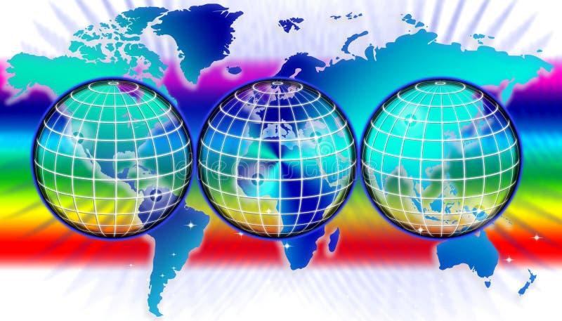 Światowa mapa lub kula ziemska ilustracja wektor