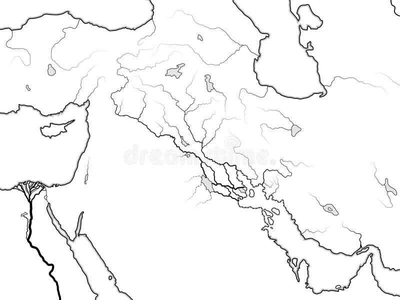 Światowa mapa MESOPOTAMIA: Šumer, Akkad, Babylonia, Assyria, Tygrys & Eufrat, Mapa Antyczna zatoki perskiej linia brzegowa ilustracji