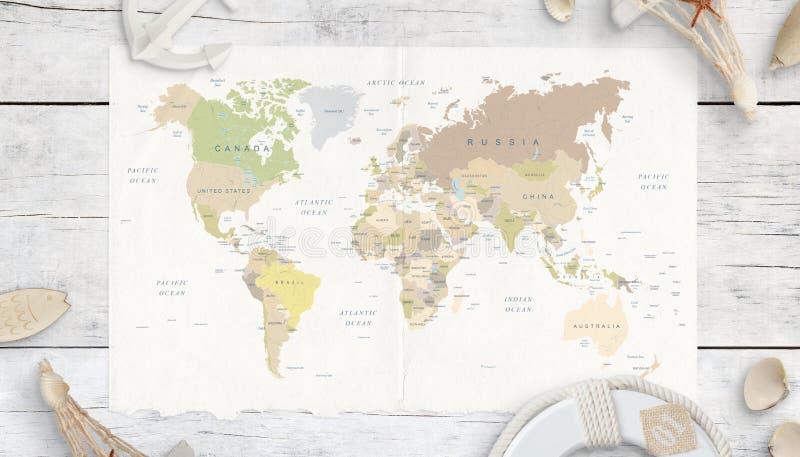 Światowa mapa na białym drewnianym stole samochodowej miasta poj?cia Dublin mapy ma?a podr?? fotografia royalty free